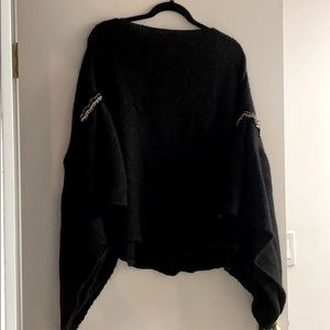 Wool-blend, beaded arm sweater